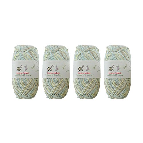 Cotton Select Multicolored Variegated Sport Weight Yarn - 4 Skeins - Col 017 - Crème De Mint ()