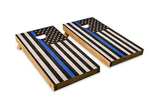 Cornhole Crew Police Blue Stripe Flag ACA Regulation Size Cornhole Board Set