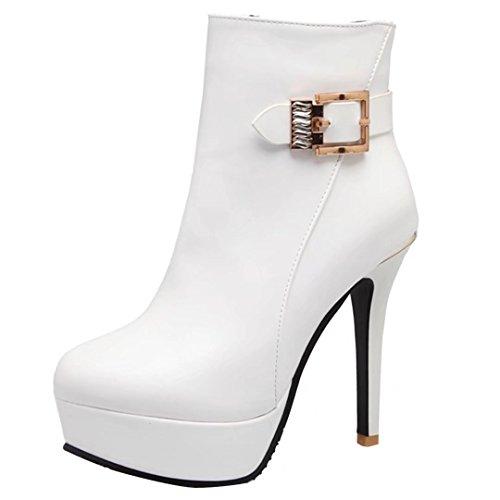 AIYOUMEI Damen Winter Stilettos Plateau Stiefeletten mit Schnalle und 12cm Absatz Kurzschaft Stiefel 1nJ65Au9