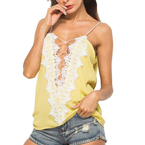 Tank Tops for Women Sexy,SMALLE◕‿◕ Womens Sexy Flower Lace Stitching Cross Bandage Deep V-Neck Solid Tank Tops Yellow from SMALLE_Clothing