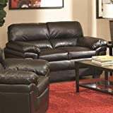 Loveseat with Split Back in Black Leather-Like Fabric For Sale