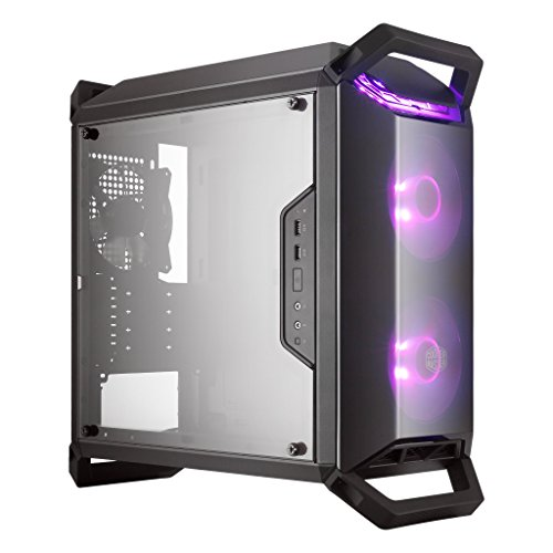 Cooler Master MasterBox Q300P mATX Tower w/ Front & Top Dark Mirror Panel, Transparent Acrylic Side Panel, Adjustable I/O  & 2x 120mm RGB Fans w/RGB Controller