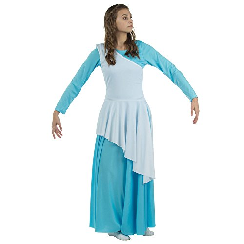 b36a16dec2c5 Danzcue Women's Asymmetrical Praise Dance Tunic, White, S-M-Adult