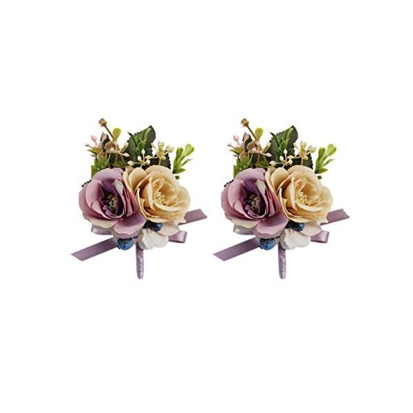 91ef1fe09 USIX 2pc Pack-Handmade Men's Lapel Artificial Rose Flower ...
