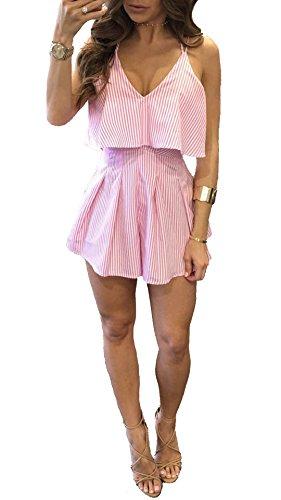 Leezeshaw Women's Spaghetti Strap Pinstriped Ruffled Short Jumpsuit Bandeau Falbala Mini Playsuit