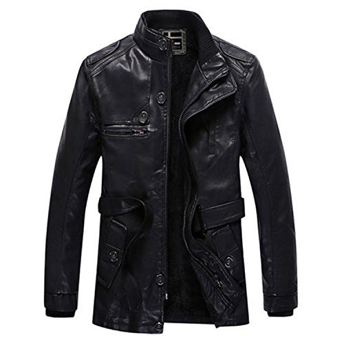 Musamk Dashing 2016 New Men's leather jacket long PU men warm leather coat bomber jacket wool liner Youth Motorcycle Suede Jacket Male (PY31) BLACKXL High Grade