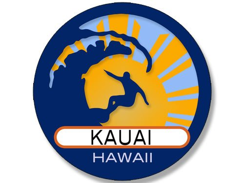 American Vinyl Round Surfer On Wave Kauai Hawaii Sticker (Surfing surf Retro Beach)