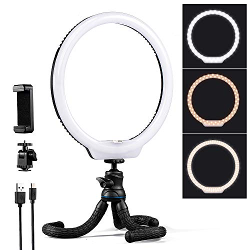 K&F Concept 10'' Selfie Ring Light with Stand Phone Holder for Vlog Camera Video Smartphone YouTube Self-Portrait Makeup Shooting