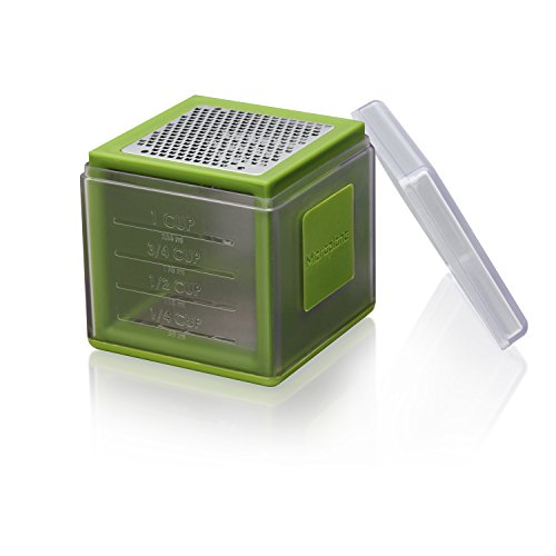 Measuring Grater - Microplane Mini Box Grater with Zester and Measuring Cup - Green
