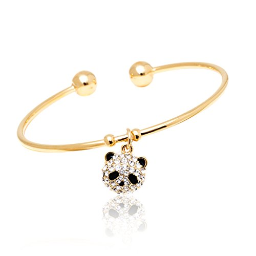 White Gold Panda - Barzel 18K Gold Plated Crystal Charm Bangle (Panda)