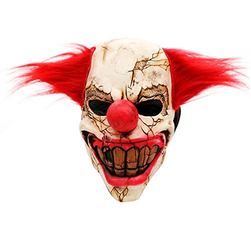 S.Charma Halloween Scary Clown Mask, Horrific Demon Adult Cosplay Props Devil Zombie Mask -