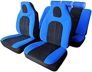 DELUXE BLUE PIPING CAR FRONT SEAT COVERS 1+1 2006 ON FIAT PANDA