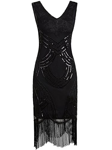 Vijiv Women Flapper 1920s Dress Gatsby Black Vintage Pattern Sparkly Sequin Beaded Tassel Cocktail (The Great Gatsby Halloween Costumes)