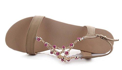 Sommerblumen Schuhfrauensandelholze Steigung mit niedrigen Absätzen Sandalen und Pantoffeln Sandalen weibliche Studenten aprikose