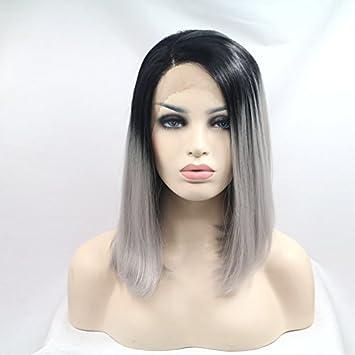 Wiged Negro Y Gris Degradado Corta Peluca Peluca Inigualable En Belleza Natural Cabello Parcial Antes De