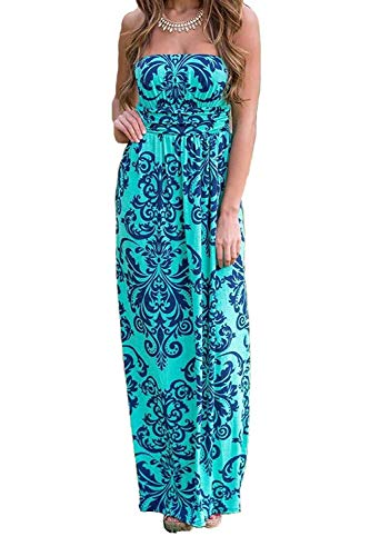 - DLDY Women's Strapless Maxi Dress,Elastic High Waist Off Shoulder Summer Beach Dresses for Womens with Pockets