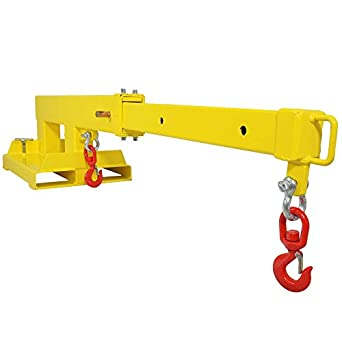 Titan Attachments Forklift Mobile Crane Lifting Hoist Truss Jib Boom 2  Hooks 5500 lb Capacity Fork Mounted