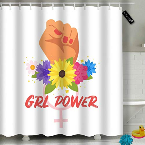 Randell Decor Shower Curtain Set Cartoon Style Woman Clenched Fist Flowers Drl Power 72