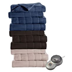 Sunbeam Quilted Fleece Heated Blanket wi...