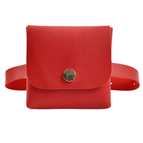 Women Fashion Mini Fanny Pack,Crytech Solid Ultra Slim Leather Button Pocket Coin Purse Waist Bag Wild Casual Cell Phone Pouch Belt Crossbody Shoulder Sling Bag Wallet Messenger Satchel (Red)