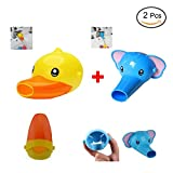 Best Christmas Gifts Kawaii Kids Children Bathroom Sink Faucet Extender With Lovely Elephant and Duck Style,Hand Washing Habits Helper for Baby,Toddlers(2-Set)