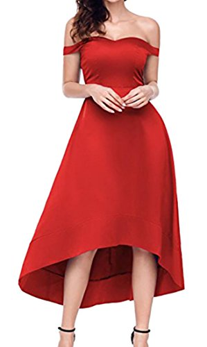 BLTR High Sleeve Maxi Low Party Dress Short Red Women Strapless Cocktail BqOaBr