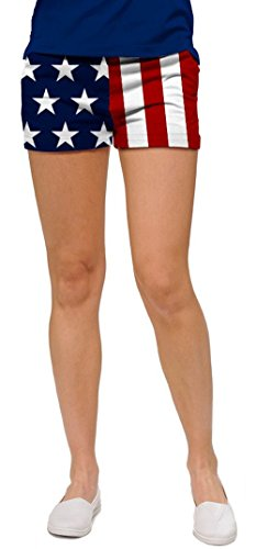Loudmouth Golf Womens Mini Shorts: Stars & Stripes - Size ()
