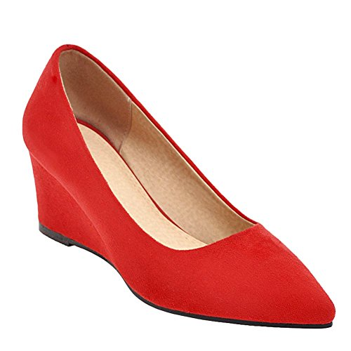 Carolbar Women's Solid Color Concise Mid Heel Wedge Pointed Toe Court Shoes Red-6cm