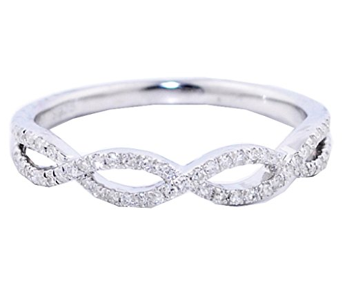 Twisted Diamond Wedding Ring (Infinity Wedding Band Anniversary Ring Twisted 1/8ctw Diamonds in Silver(i2/i3, I/j) )