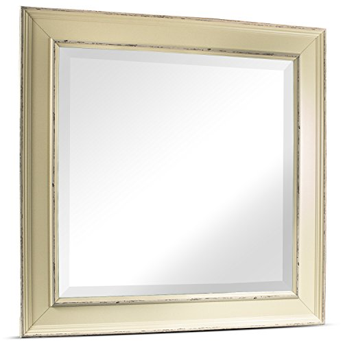 Ivory Traditional Vanity (Millennium Art Camden Medium Square Antiqued Framed Beveled Wall Vanity Mirror - Ivory (23