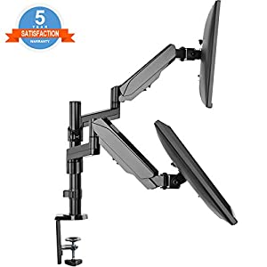 "Dual Arm Monitor Desk Mount Stand,Height Adjustable Full Motion Gas Spring Monitor Mount Riser with C Clamp/Grommet Base Fits Two 17""-32"" LCD LED Computer Screens up to 17.6lbs Per,Black,by IMtKotW"