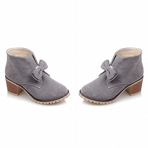 Mee Shoes Damen mit Schleife chunky heels Plateau Nubukleder Ankle Boots Grau