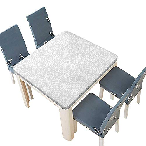 PINAFORE Jacquard Polyester Fabric Tablecloth Tribal Celtic Knots Eternity Forms Pattern Boho Decor Ireland Irish Cross Floral Artprint Summer & Outdoor Picnics 45 x 45 INCH (Elastic Edge) ()