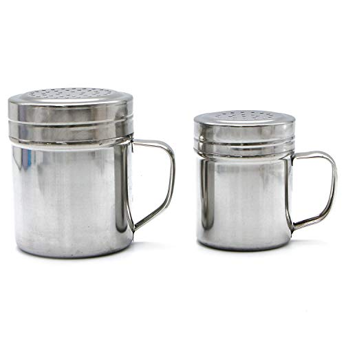 (Monrocco 2 Pack Stainless Steel Dredge Shaker with Handle Spice Cheese Shaker Powder Shaker Can for Home Kitchen)