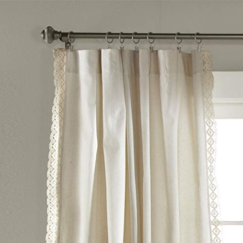 "Lush Decor Rosalie Window Curtains Farmhouse, Rustic Style Panel Set for Living, Dining Room, Bedroom (Pair), 84"" x 54"", Ivory 2"