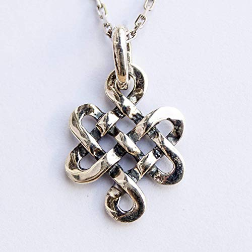 (Sterling Silver Infinite Celtic Knot Cross Necklace Pendant Endless Love Eternity Irish Symbol Norse Jewelry )
