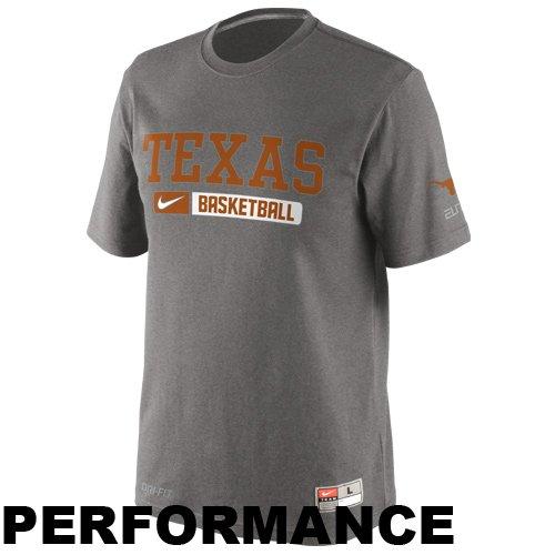 Charcoal Nike Texas Longhorns - Nike Texas Longhorns NCAA On-Court Basketball Team Issued Elite Practice T-Shirt (XL)
