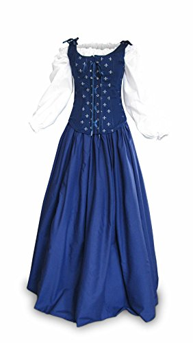 Renaissance Faire Wench Pirate Gown Medieval Dress 3 Piece Set Navy