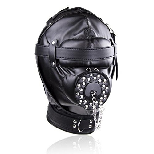 IYOWEL Black Leather Costume Mask Hood All Colsed with Mouth Gag Headgear Harness