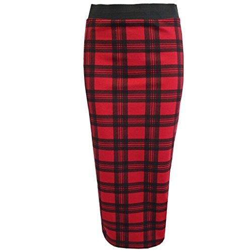 Neuf pour femme Comic Lopard Tte de mort Rose  rayures tartan bodycon Midi jupes Taille 8C22 Rouge cossais