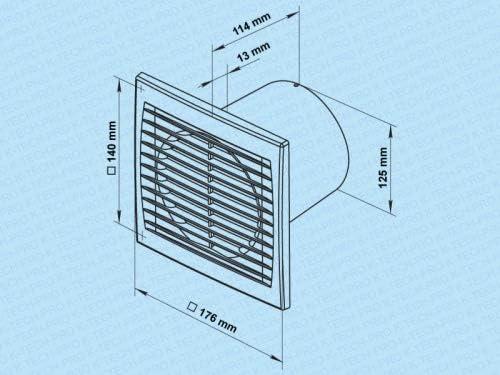 Wandventilator Abluftventilator Badezimmerl/üfter Badl/üfter Wandl/üfter SILENT pro mit Kugellager System /Ø 125 Funktion Standard mit Multisteuerung
