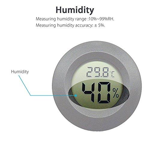EEEkit Hygrometer Thermometer Digital LCD Monitor Indoor Outdoor Humidity Meter Gauge for Humidifiers Dehumidifiers Greenhouse Basement Babyroom, Black Round (5-pack) by EEEKit (Image #2)