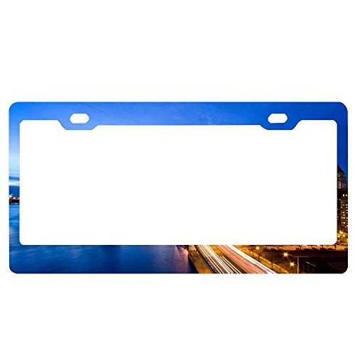 Aluminum Metal License Plate Frame for Women/Men, Custom License Plate Covers, Auto Car Tag Frame - FDR Drive On The East Side of Manhattan