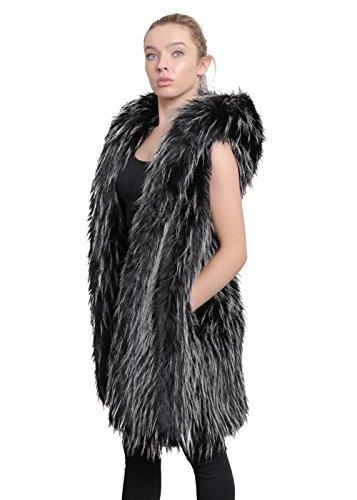 Chaleco Chaleco piel Con La lujo falsa de Capucha Damas Crema Cebra Mujer X8RqRtv