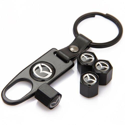 CzlpV Black Car Wheel Tire Valve Caps Tyre Stem Air Caps Keychain Styling For MAZDA