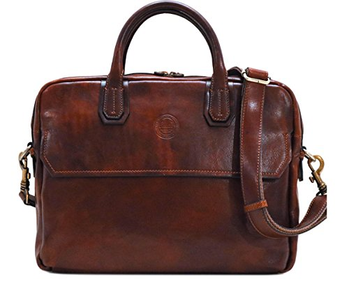 p Briefcase Messenger Bag in Brown Calfskin Leather ()