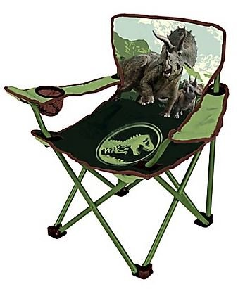 .Jurasic World 2. Kids Indoor Outdoor Dinosaur Design in Green Folding Camping Chair, Includes Carry Bag For Travel, Perfect For Sports Events and Camping Trips! Measures 13.8'' W x 13.8'' L x 21.6'' H