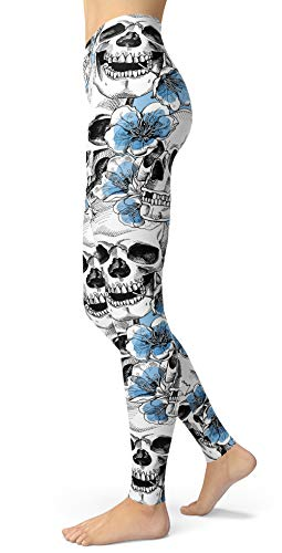 Women's Sugar Skull Printed Leggings Brushed Buttery Soft Ankle Length Tights (Medium, Light Blue)]()