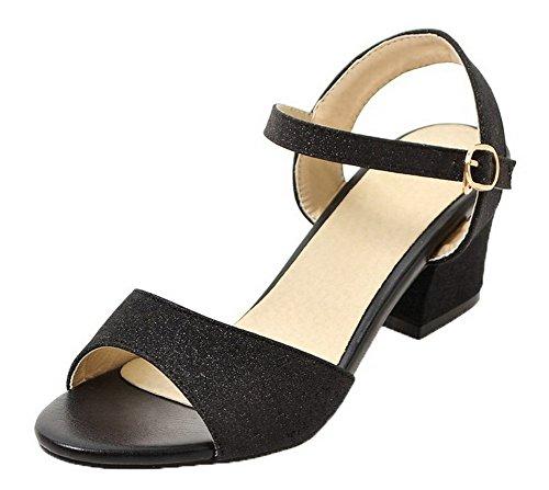 VogueZone009 Women Open-Toe Buckle Kitten-Heels Blend Materials Solid Sandals Black