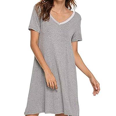 RAINED-Womens Cotton Nightgown Short Sleeve Sleep Nightdress Scoopneck Sleep Tee Nightshirt Lace Trim Sleep Shirt